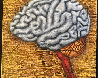 "Brain Painting on Weathered Plywood, ""Grey Matter"""