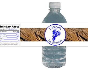 Motocross Dirt Bike Birthday Party Labels *Waterproof*  Peel & Stick Water Bottle Drink Labels