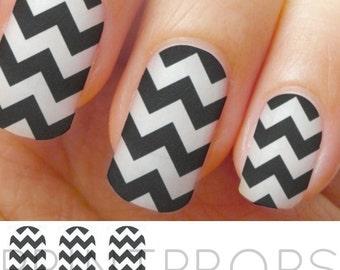 Black and White Chevron Nail Stickers, Chevron Nail Wraps, Nail Decals