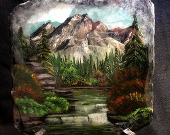Acrylic Slate Painting of a Mountain and Waterfall Scene Original one-of-a-king