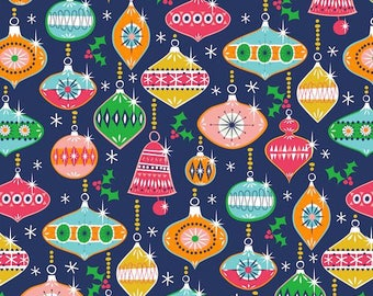 Dashwood Studio - Merry Little Christmas Baubles on Blue - Cotton - quilting/dressmaking Fabric