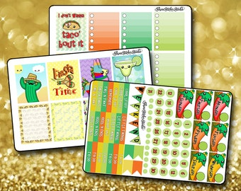 Mexican Theme Weekly Sticker Kit EC - Vertical Planner Stickers Erin Condren Life Planner Cute Stickers Kawaii Stickers ECLP Stickers