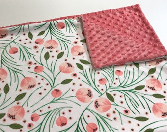 Coral Winter Floral Minky Baby Blanket