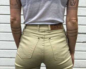 Vintage Sasson Khaki Pants   25 x 33 Extra Long   High Rise, High Waist, Straight Leg, Slim Fit   Beige Tan   Extra Small