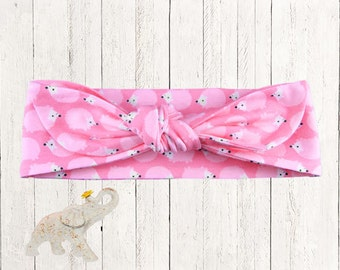 Top Knot Headband || Knotted Headband - Adoralble Pink Hedgehogs on Cotton Spandex Knit Designer Fabric