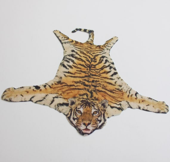 Miniature Faux Tiger Skin Rug For Dollhouse In 1:12 Scale