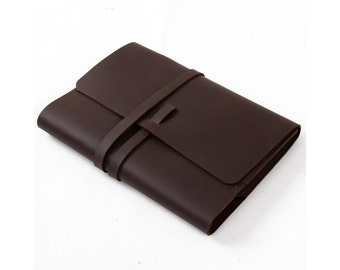 Classic Leather Journal Refillable Handmade with Strap Pen Loop Blank and Lined Craft Paper Brown A5 with Gift Box