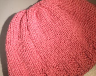 Knitted woman's/ teen pink beanie hat
