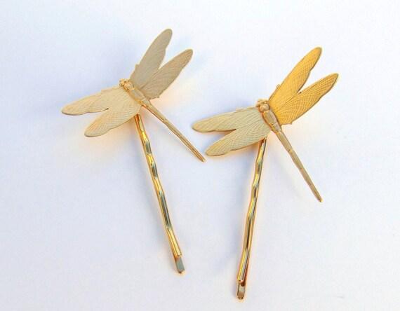 Art Nouveau Hair Pins, Ornate Dragonfly, Dragonfly Hair Pins, Brass Hair Clips, Gold Dragonfly, Dragonfly Hair Pins, Outlander  SUN DANCE