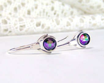 Sterling silver paradise shine rhinestone earrings / french hook earrings / art deco style / gift for her / rainbow rhinestone