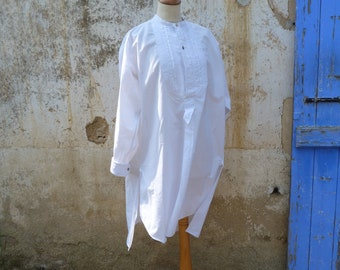 Vintage Antique 1900 /1920 French  cotton Men Shirt with pleated plastron size M