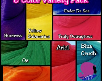 8 Color Variety Pack Nylon Doll Hair for Rerooting Barbie, Monster High, Ever After, Rehair MLP Pony INTL SHIP