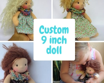 Custom! Little rag doll Waldorf doll 9 inch Poupée waldorf puppe Gift idea Mothers day Collectable dolls Waldorf style doll Bambola