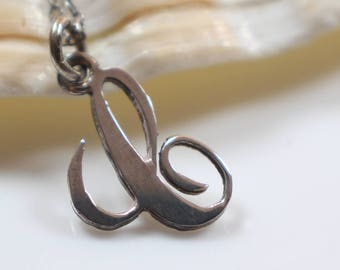 Small Curly Letter C Initial Pendant on Silver 925 Stamped Chain Necklace