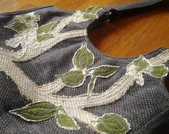 Vintage appliqué  textured purse bag