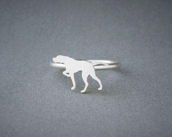 ENGLISH POINTER RING / Pointer Ring / Silver Dog Ring / Dog Breed Ring / Silver, Gold Plated or Rose Plated.