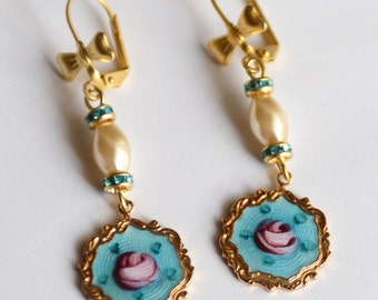 Vintage Sarah Coventry Enameled Gold Charms and Pearl Earrings, Turquoise and Pink Rose Earrings, Birthday Day Gift, Something Blue SRAJD