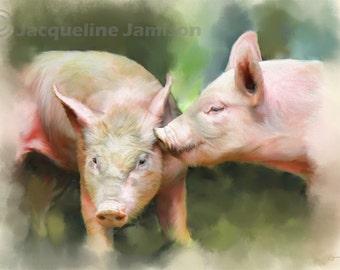 Original Art, ACEO, Piglets, The Kiss