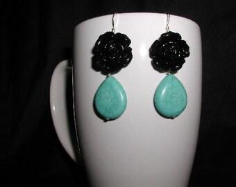 Little Black Dress Dangle Earrings, Turquoise