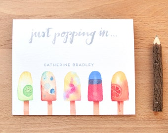 Personalized Stationery Set of 6 Watercolor Cards with Name