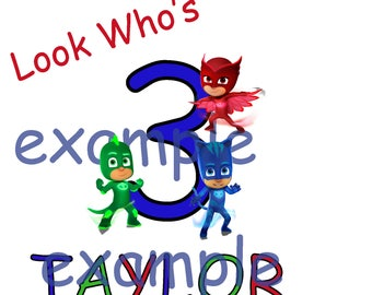 PJ Masks #15 - 8 x 10 - T Shirt Iron On Transfer - Happy Birthday - Customize with name and number