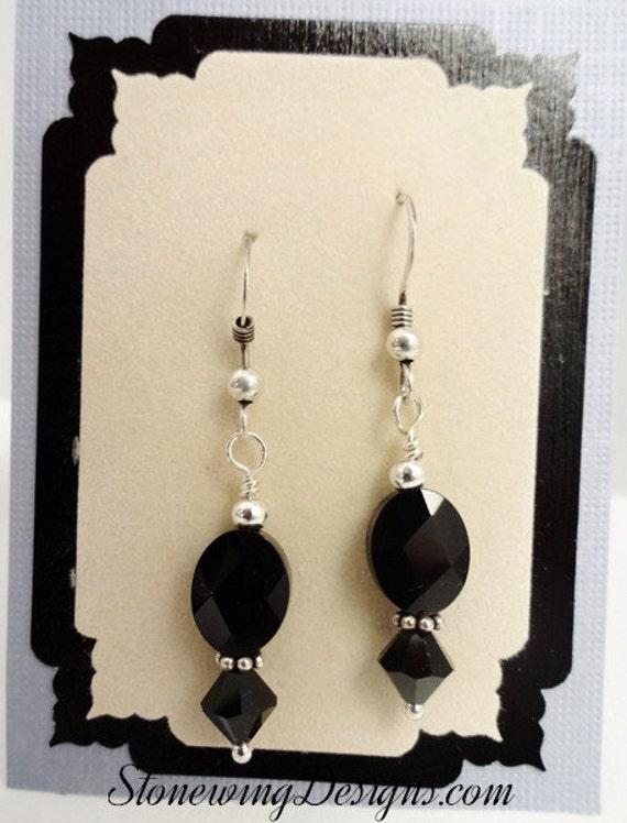 Black Onyx Faceted Oval Earrings