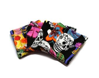 Handmade Quilted  Coasters set of 4 Day of the Dead  Alexander Henry Black Skulls Skeletons