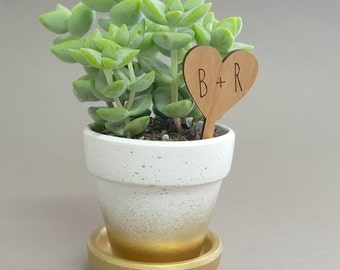 Wedding Favors - Custom Planter Stakes with Initials - Rustic Wedding Favors