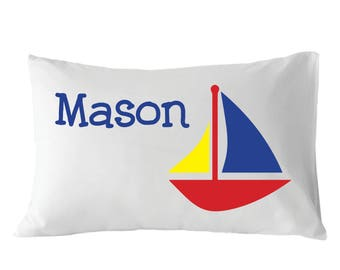 Personalized Pillowcase, Sailboat Pillowcase, For Kids
