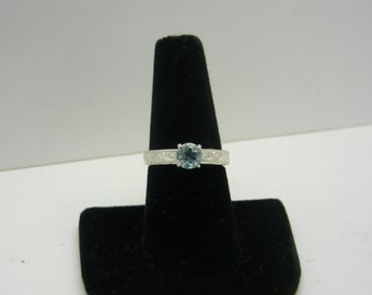 Genuine Blue Topaz in Sterling Silver Etched Ring Size 7