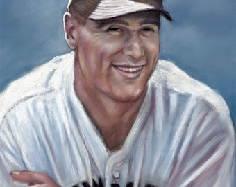 """Lou Gehrig, painting, poster, print, reproduction, artwork, drawing, 16""""x20"""",22.4""""x28"""""""