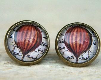 Hot Air Balloon Earrings, Red Earrings, Small Studs, Stud Earrings, Post Earrings, Glass Dome,Earrings,  Balloon Earrings, Balloon Jewellery