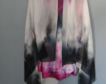 Silk chiffon shawl, beach coverup, hand dyed silk, pareo, silk wrap skirt