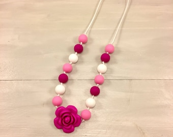 Flower Necklace, Girl Fidget Necklace, Fidget, Chew Necklace, Children's Jewelry, Chew Beads, Silicone Beads, Sensory Necklace, Ages 3+