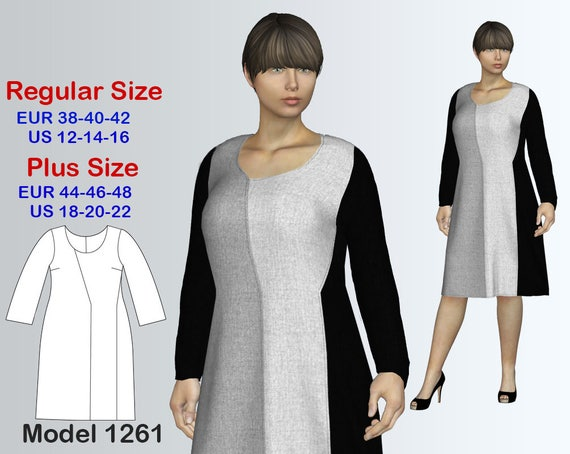 Knit Dress Sewing Pattern PDF Women\'s sizes 12-22 PDF
