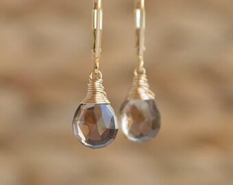 Smoky Quartz Earrings, Smokey Quartz Jewelry, Genuine Gemstone, Dainty Dangle Drop Earrings, 14K Rose Gold Filled Sterling Silver
