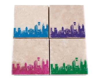 Philadelphia Skyline Coaster Set (4 Stone Coasters, Pink, Blue, Green, & Purple) Philly Cityscape Home Decor