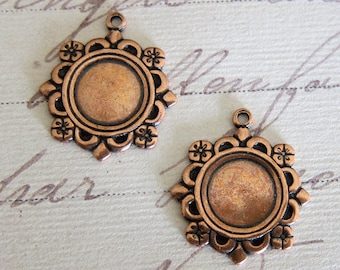 NEW 2 8mm Copper Bezel Charms 3732C