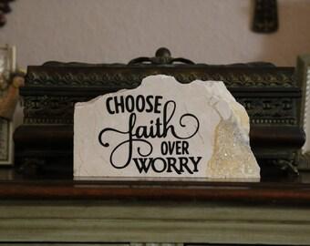 Faith Over Worry- Granite Home Decor