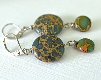Aqua Terra Jasper Earrings Teal Earrings Aqua Earrings Natural Gemstone Earrings Ready to Ship