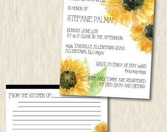 Sunflower bridal shower invitation, digital, printable, watercolor