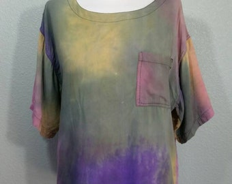 Vintage Late 80's, Hippie, Boho, Muted Tie Dye Top by At Last, S/M