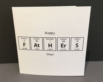 Father's Day Card - Card for a Chemist Scientist - Paper Handmade Greeting Card - Science Geek Dad - Periodic Table - Card for Dad
