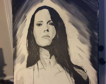 Ashes for Andelusia - Original Noir Portrait Painting - Black Haired Girl on Striking Grey Background