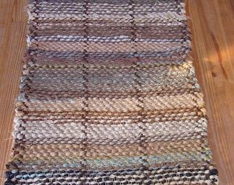 Handwoven Rag Rug, three-paneled
