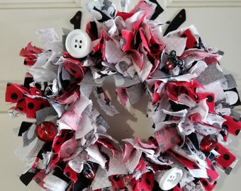 Mickey Mouse inspired rag wreath 8""