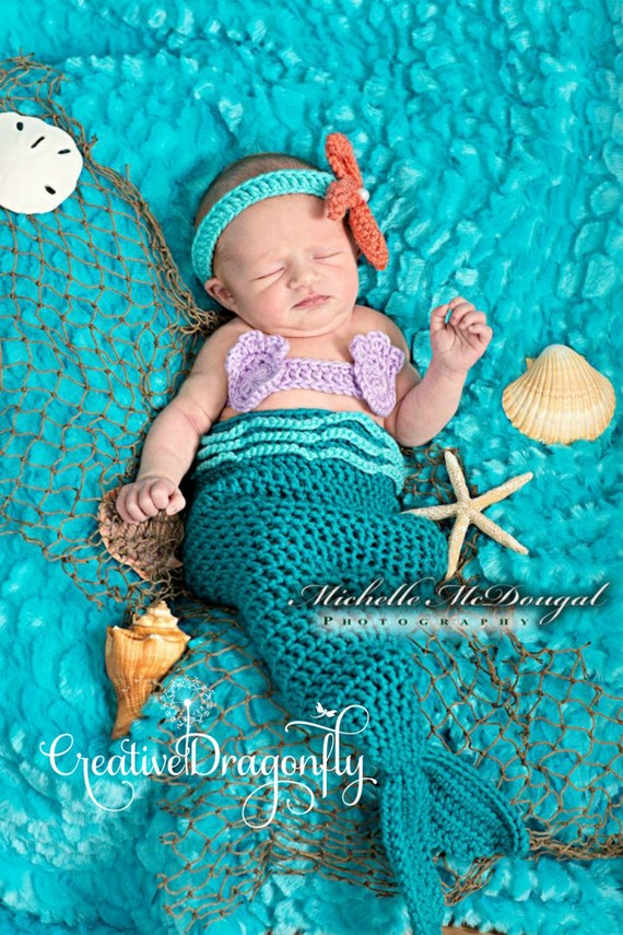 Like this item?  sc 1 st  Etsy & Newborn Mermaid Costume 0 to 3 Month Turquoise Mermaid Photo