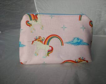Unicorn Zip Pouch. Make-up/Toiletries Bag or Pencil/Stationary Pouch