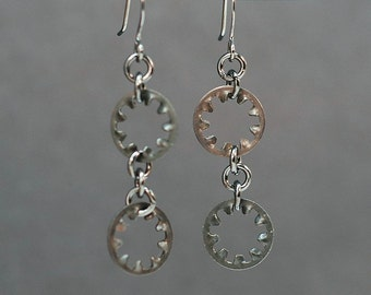 Hardware Jewelry- Upcycled Gunmetal Washer Earrings, Featured in Elle Magazine, Industrial Jewelry, Circle Earrings by Tanith Rohe
