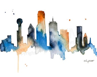Watercolor Painting Dallas Texas Skyline Print Wall Art Abstract Painting Minimalist Large Wall Art Housewarming Gift Dallas Cowboys